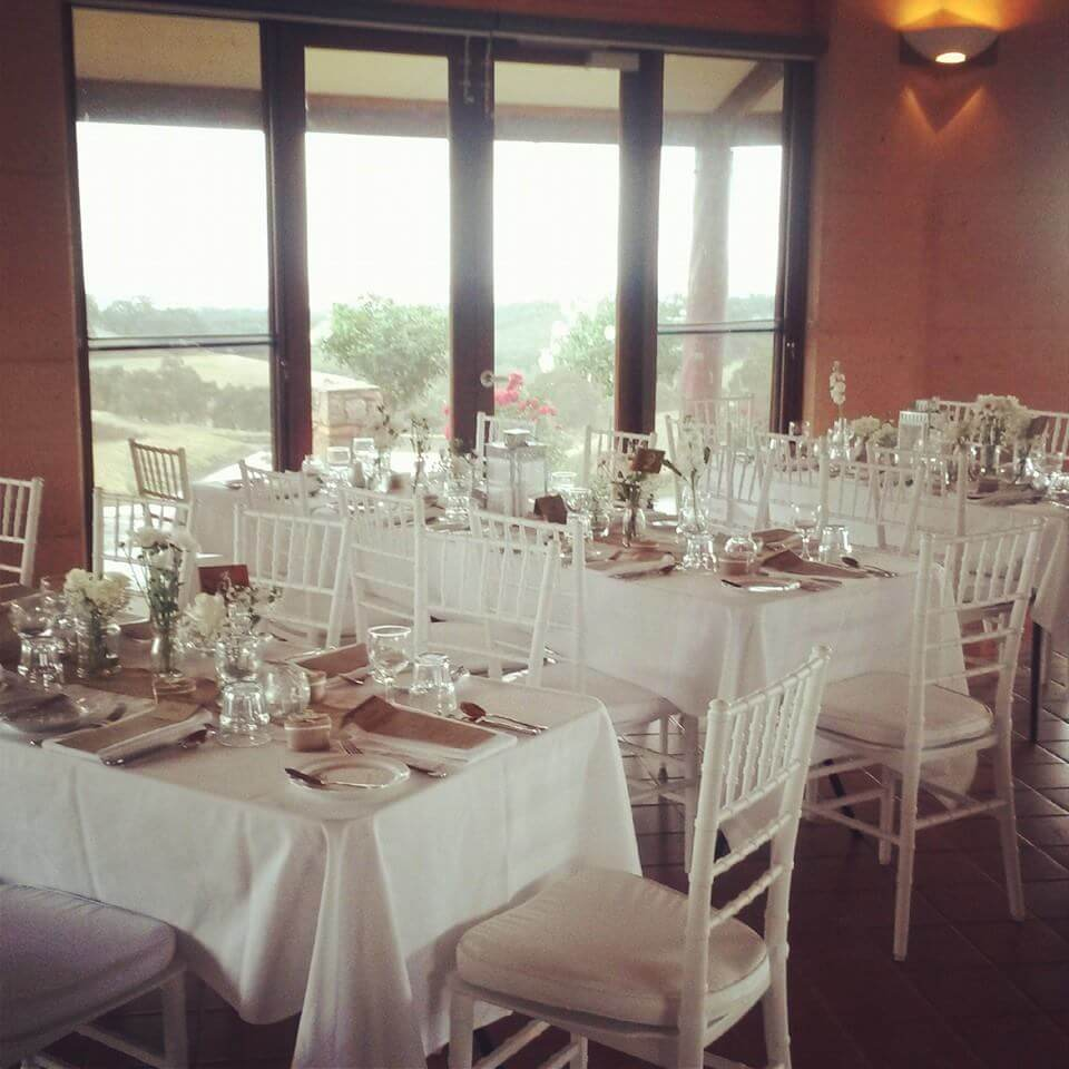 Our white Tiffany chairs at Ferguson Farmstay