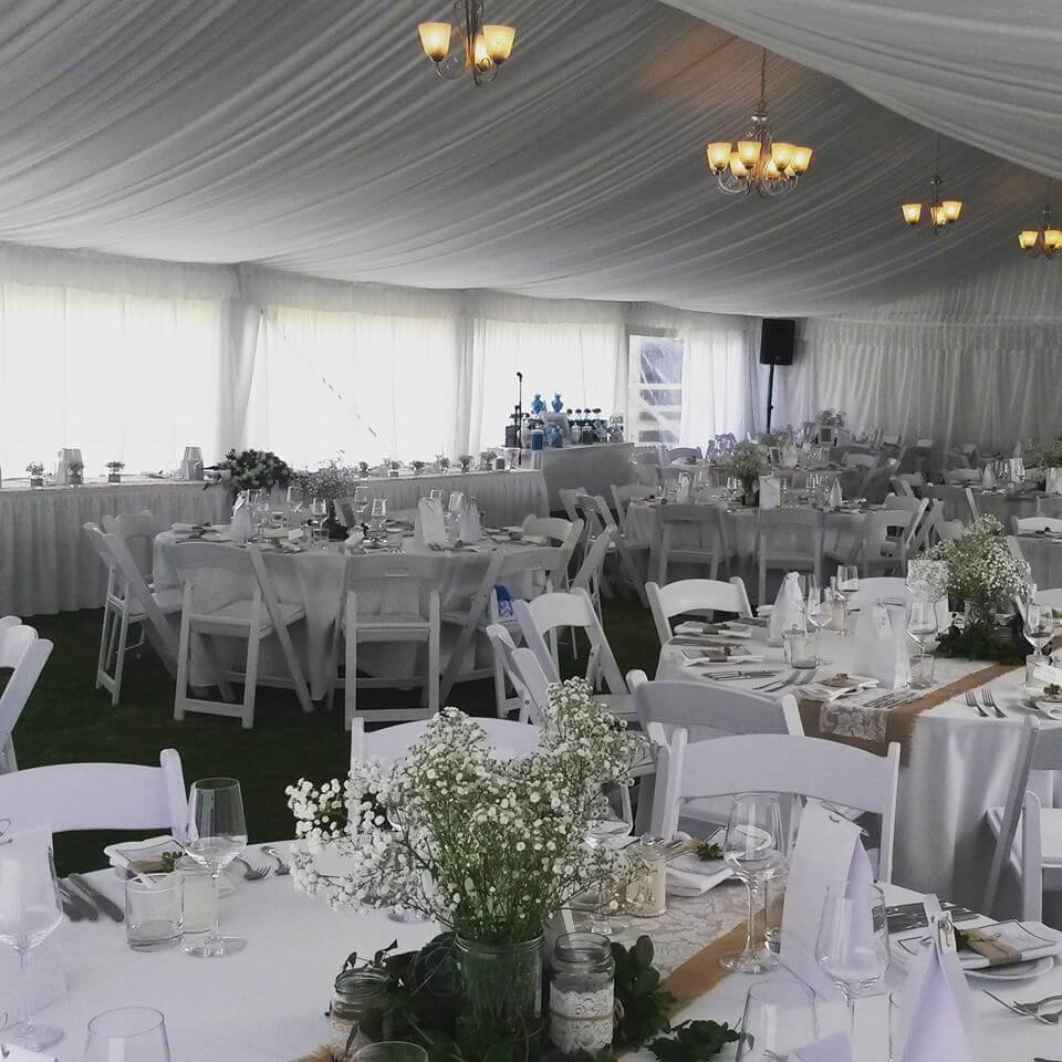 Inside the marquee for Jess and Wade's wedding