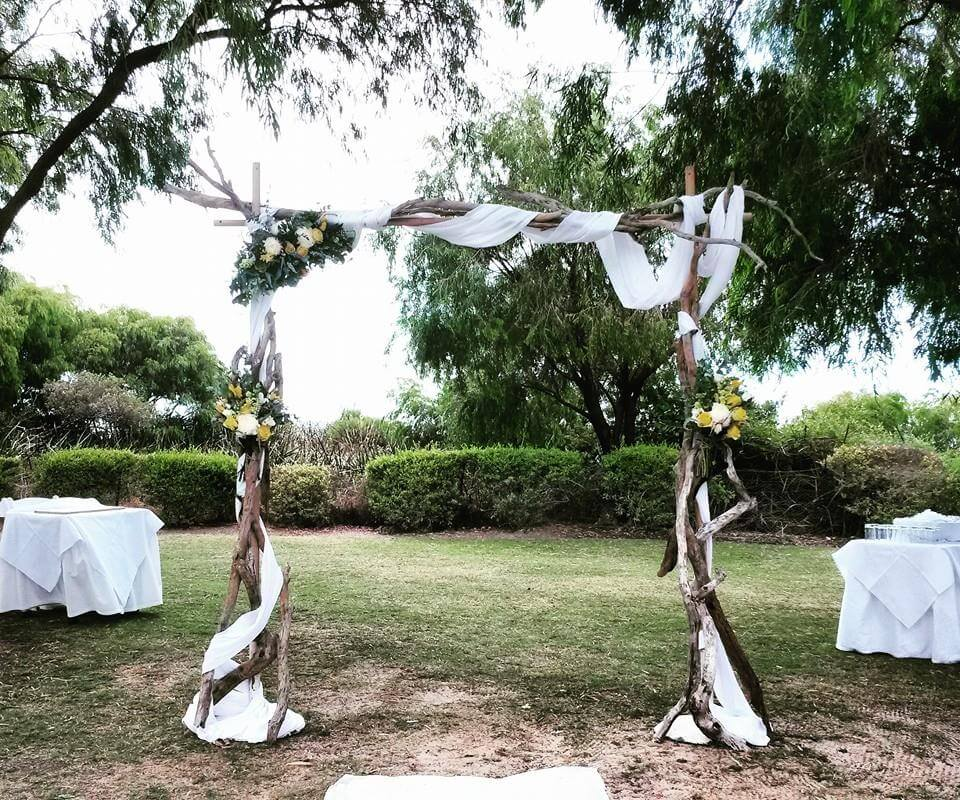 Driftwood ceremony arbour at Abbey Beach Resort
